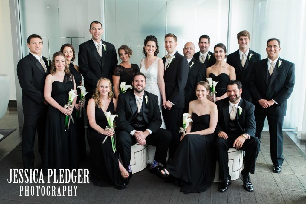 Classic Black and White Wedding Party Portrait Hotel Sorella CITYCENTRE| Houston Wedding Photographer | Jessica Pledger Photography