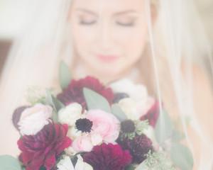 Bridal Photos Crimson Bouquet