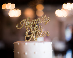 Gold Sparkly Cake Topper