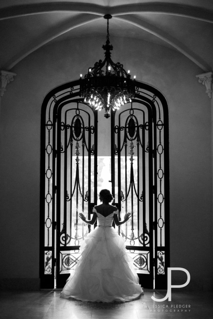Bride in doorway at Chateau Cocomar