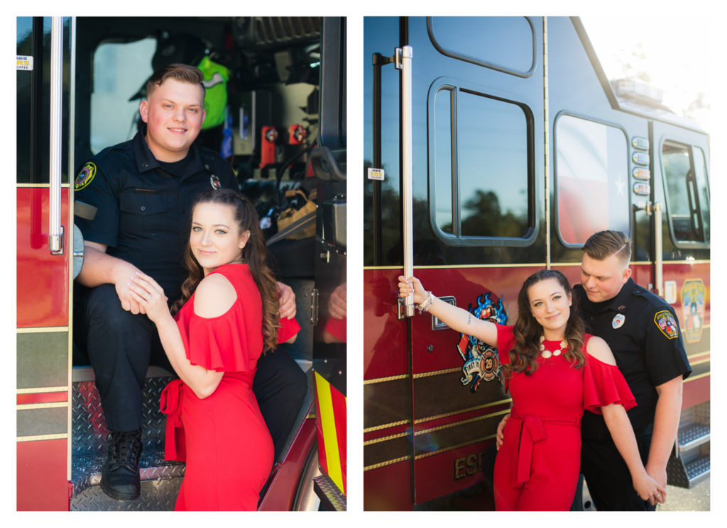 Houston Firefighter Themed Engagement Photos