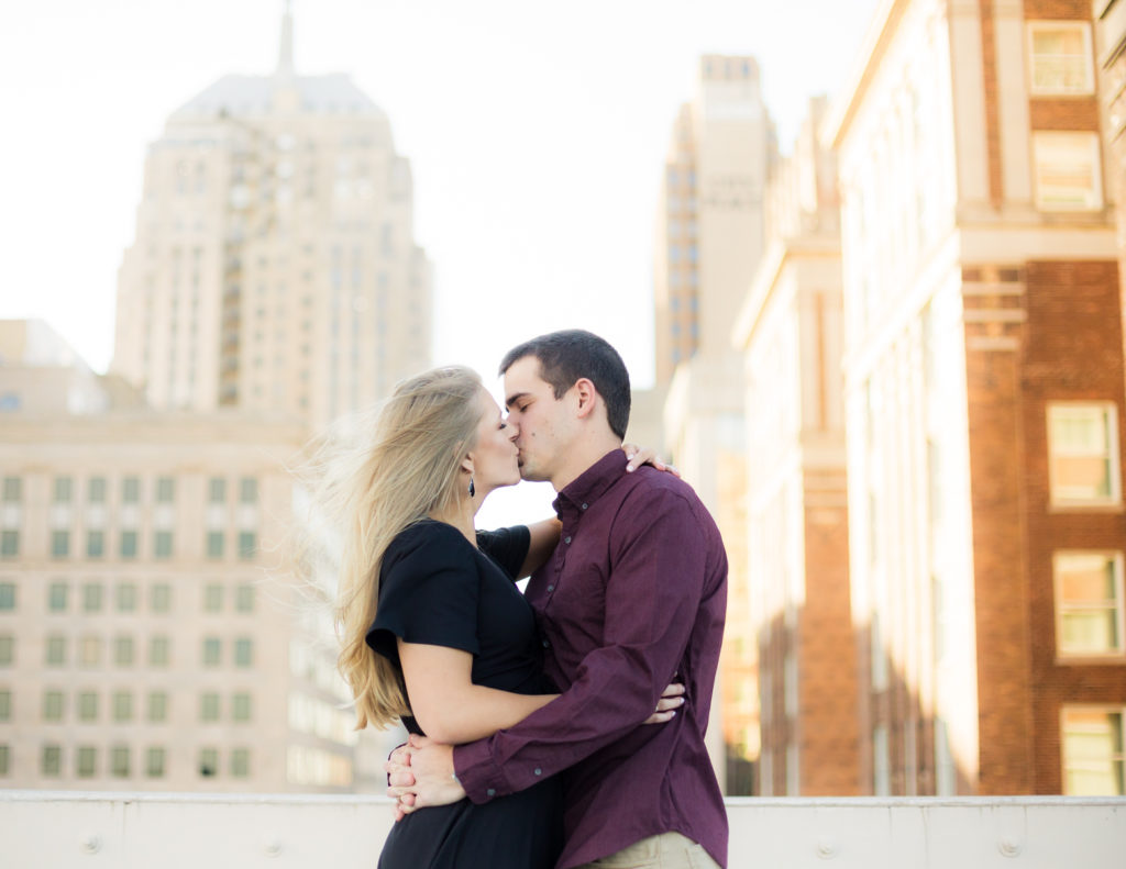 Oklahoma City Fall Engagement Session on the rooftop