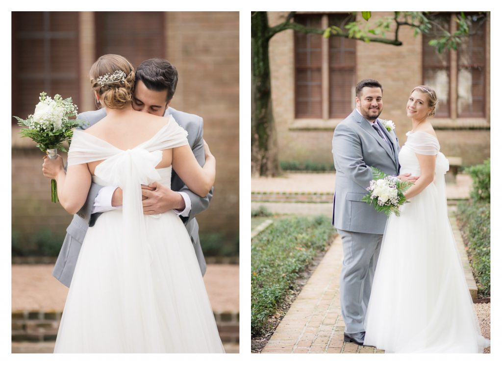 Nichole & Seth had their first look outside the beautiful Houston Magnolia Hotel before heading to their wedding ceremony and reception at the unique Nouveau Antique Art Venue in Houston!