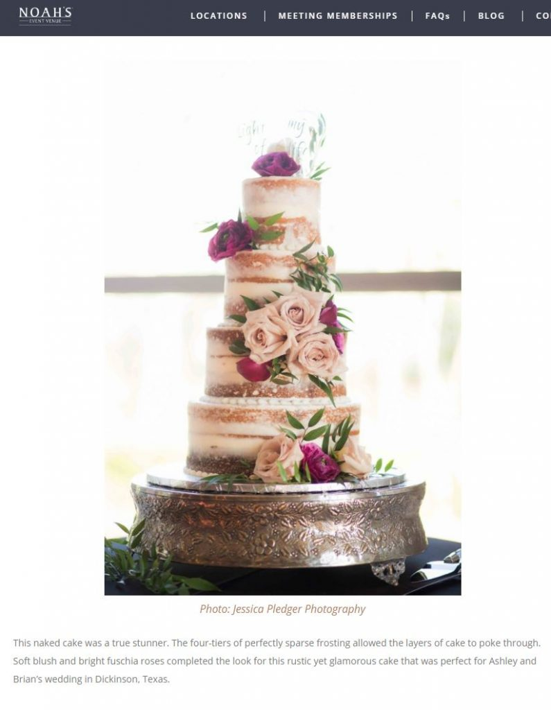 Noah's Event Venue featured Ashley & Brian's Naked Cake as one of their Favorite Wedding Cakes of 2019